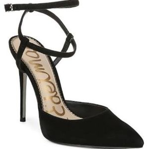 Sam Edelman Deana Black Suede Leather Stiletto